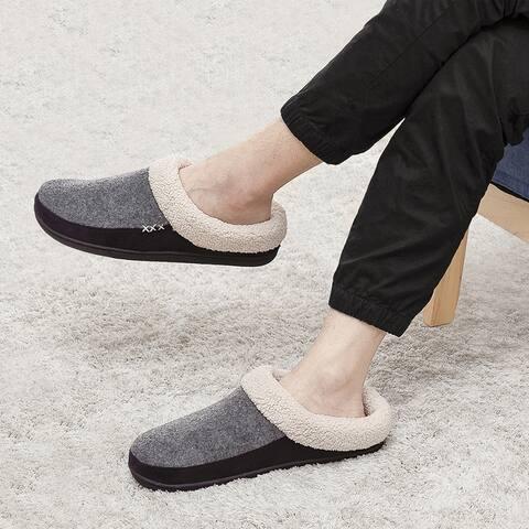 Vonmay Men's Memory Foam Slip-On Wool Fleece Garden Shoes