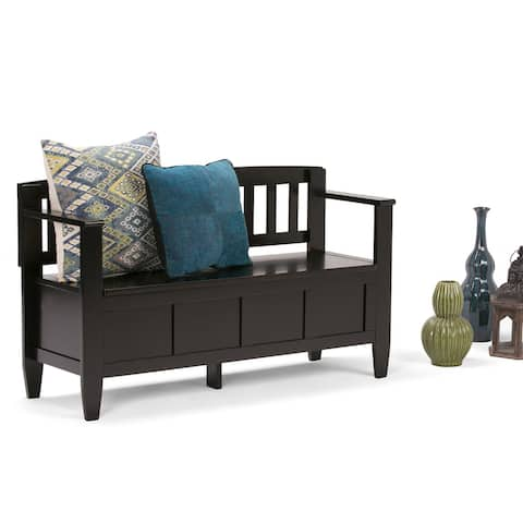 WYNDENHALL Riverside SOLID WOOD 48 inch Wide Contemporary Entryway Storage Bench - 20 inch wide