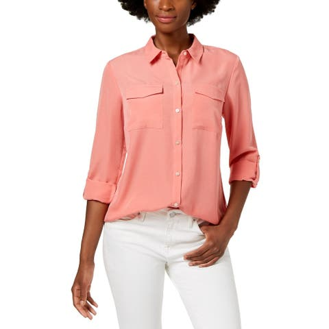 Charter Club Petite Cuffed-Sleeve Shirt (Pink, Pet/S)