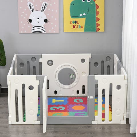 Qaba Children Baby Playpen Kids Activity Center Fence for Kids with Easy Safety Gate & Built-In Fun Toys, Grey