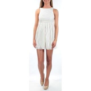 EMERALD SUNDAE 1240 Ivory Striped Sheer Mini Empire Waist Dress Juniors 0 B+B