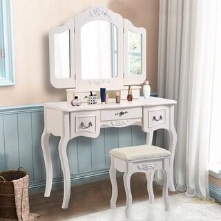 Shop Costway Tri Folding Vintage White Vanity Makeup