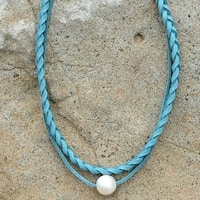 Mad Style Blue Braided Pearl Choker