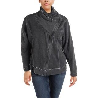 Calvin Klein Performance Womens Plus Jacket Asymmetric Zipper Long Sleeves