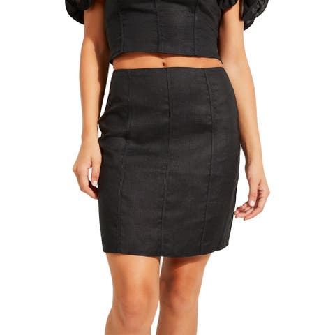 Guess Womens Makara Pencil Skirt Linen Short