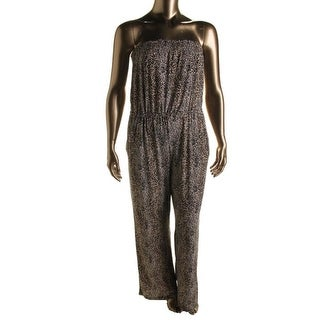 NY Collection Womens Matte Jersey Animal Print Jumpsuit - S