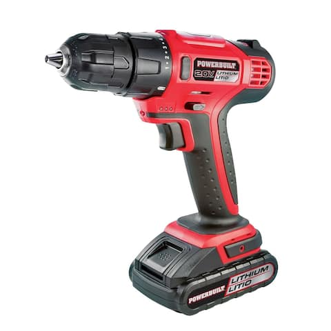 Powerbuilt 20V Lithium-Ion Cordless Drill 170 in lb Torque 18 Pos Clutch- 692873