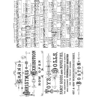 "Tim Holtz Cling Stamps 7""X8.5""-Music & Advert"