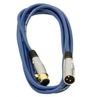 Seismic Audio Premium 10 Foot Blue XLR Patch Cable Cord - 3 Pin XLRF to XLRM Mic Cord