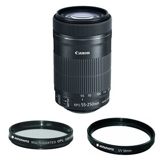 Canon EF-S 55-250mm f/4-5.6 IS STM Telephoto Zoom Lens with Agfa Photo 58mm Circular Polarizer and 58UV Filter