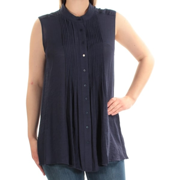 6adaabadf49f0 Shop ALFANI Womens Navy Sleeveless Crew Neck Button Up Top Size  14 - Free  Shipping On Orders Over  45 - Overstock - 24061302