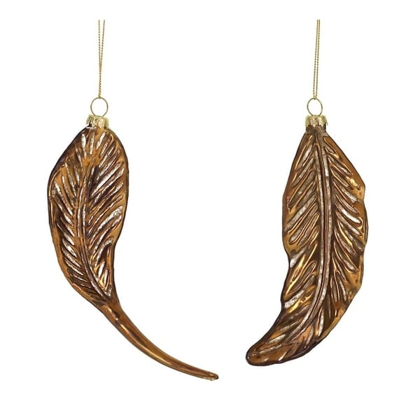 """Pack of 12 Rustic Golden Bronze Glass Feather Christmas Ornaments 7"""" - brown"""