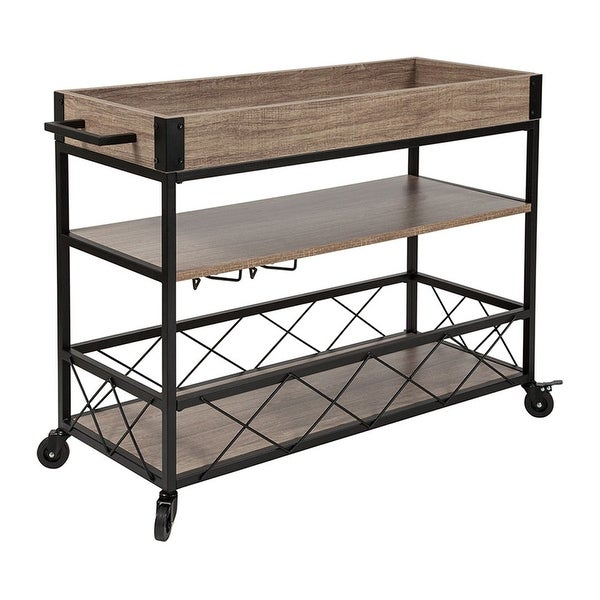 Offex Buckhead Distressed Light Oak Wood and Iron Kitchen Serving and Bar Cart with Wine Glass Holders