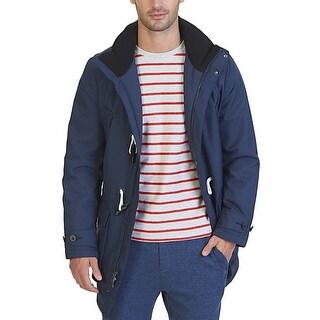 Nautica Mens Mood Indigo Blue Waterproof Hooded Toggle Coat XXL 2XL
