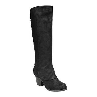 Fergalicious Women's Tinley Knee High Wide Calf Black Oiled Fabric