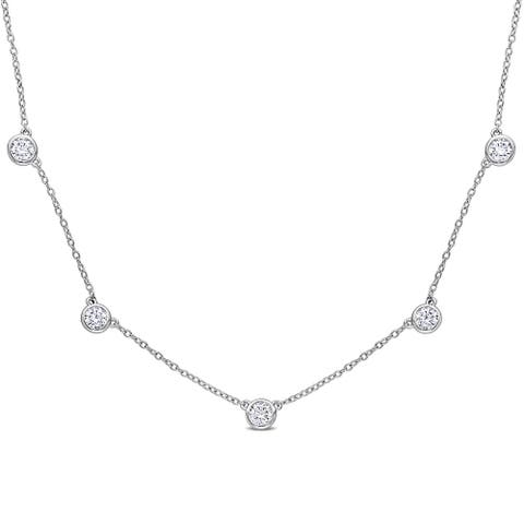 Miadora 2 1/4ct DEW Moissanite by-the Yard Station Necklace in Sterling Silver