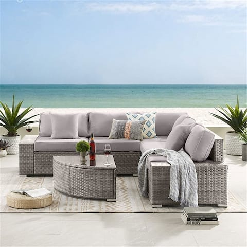 6 Pieces Outdoor Patio Furniture Set, Wicker Rattan Sectional Sofa Set with Coffee Table (Grey Base)