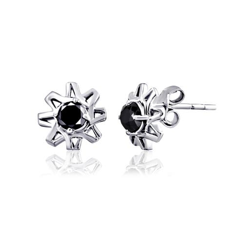 Real Sterling Silver Round Stud Earrings by Diacrown