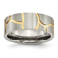 Chisel Titanium Satin & Grooved Gold Plated Mens 8mm Band