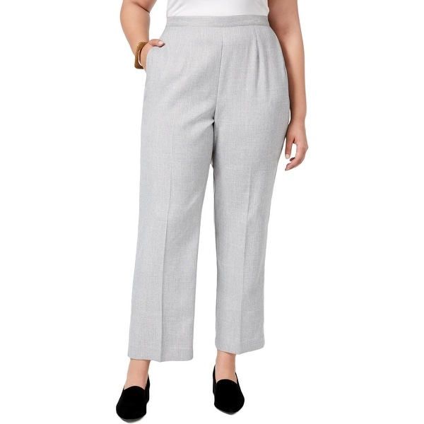 Alfred Dunner Womens Plus Casual Pants Flat Front Pull On