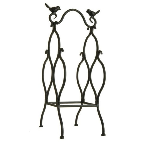 """18"""" Antique-Style Black Table Top Wine Rack with Perched Birds - 3 Bottle Storage - N/A"""
