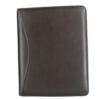 CTM® Men's Leather Padfolio with Elastic Strap Closure