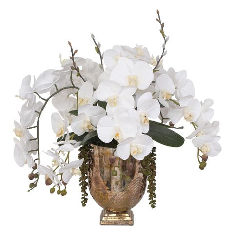 Real Touch White Phalaenopsis Orchids with String of Pearls in Vase - 21W x 19D x 22H