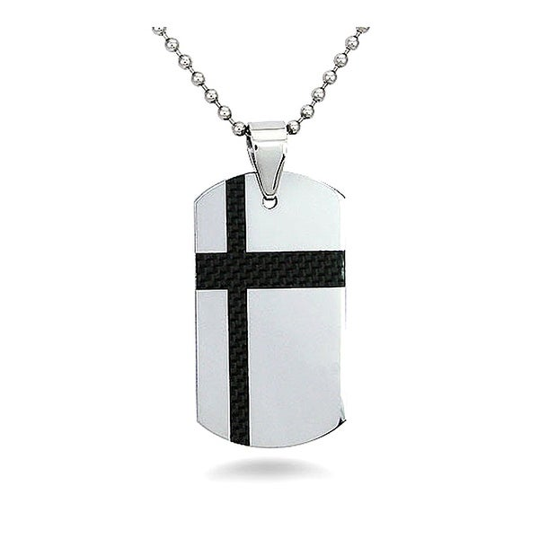 Tungsten Carbide Dog Tag with a Black Carbon Fiber Accent on a 22 Inch Chain