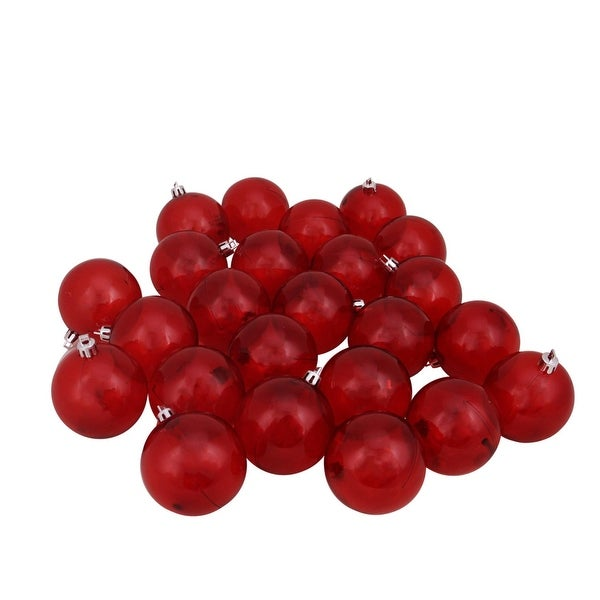 "24ct Red Transparent Shatterproof Christmas Ball Ornaments 2.5"" (60mm)"