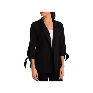 NY Collection Womens Jacket Open Front Three-Quarter Sleeves
