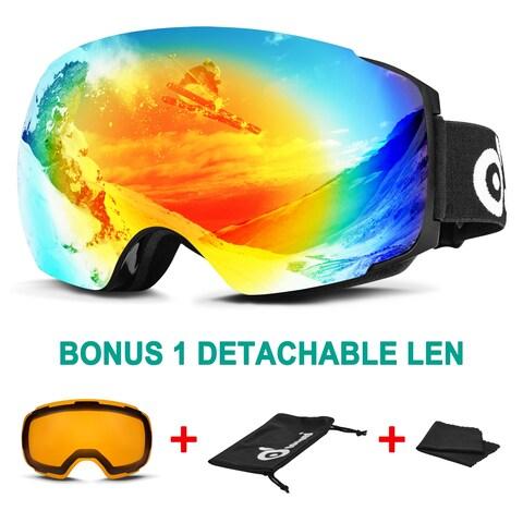 Odoland Ski Goggles for Men Women Magnetic Interchangeable Large Spherical Frameless OTG UV400 Protection