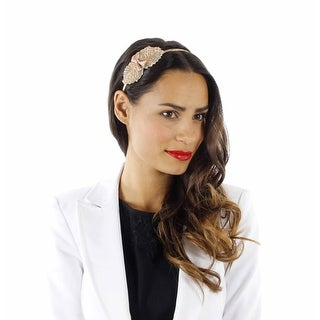 Luster Leaf Beaded Headband with Bow
