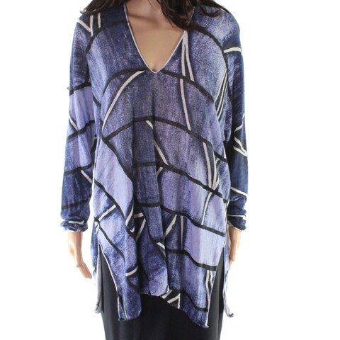 Nic + Zoe Blue Women's Size Small S Printed Side Slit Blouse