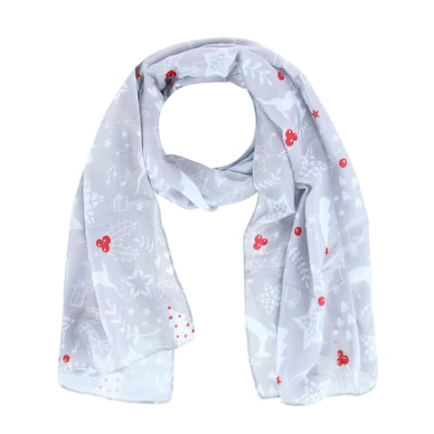 CTM® Women's Holiday Reindeer & Snowflake Print Lightweight Scarf - one size