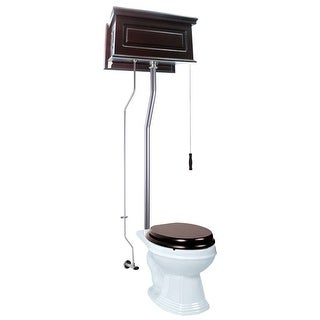 Renovator's Supply Dark Oak Raised Tank Round High Tank Toilet