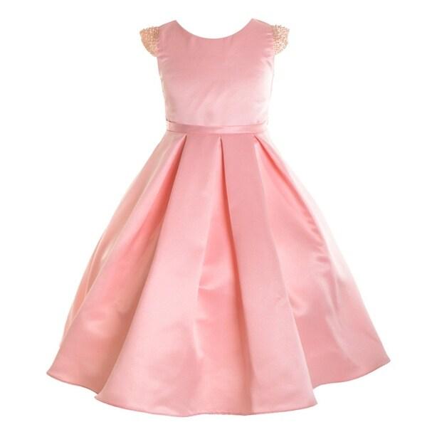 8bf2acaea8 Girls Blush Dull Satin Beaded Junior Bridesmaid Dress