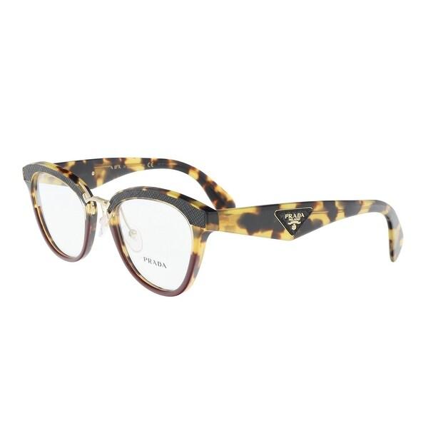 62b795c7a72c Shop Prada PR 26SV VHC1O1 Burgundy Leopard Round Optical Frames - 51 ...