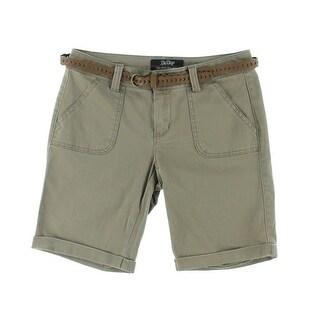 Be Bop Womens Juniors Bermuda, Walking Shorts Twill Cuffed