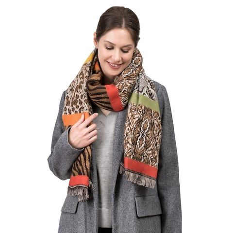 "Glitzhome 77""L Double Jacquard Leopard Scarf with Tassels"