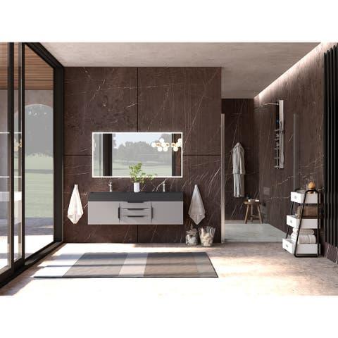 """Amazon 60"""" Wall Mounted Bathroom Vanity Set w/ Black Top"""