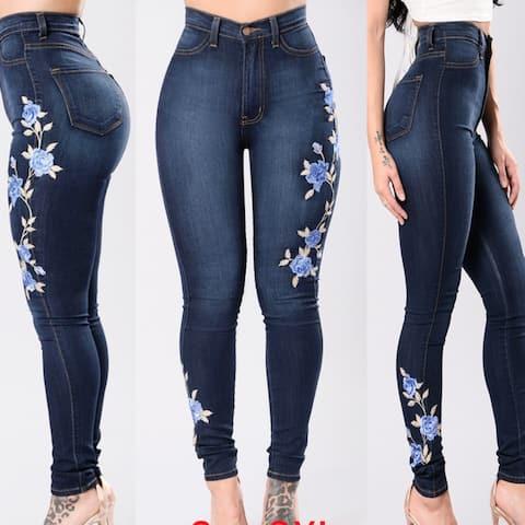 Denim Women Jeans Embroidered Slim Fit Stretchy Skinny Pant - Gark Blue