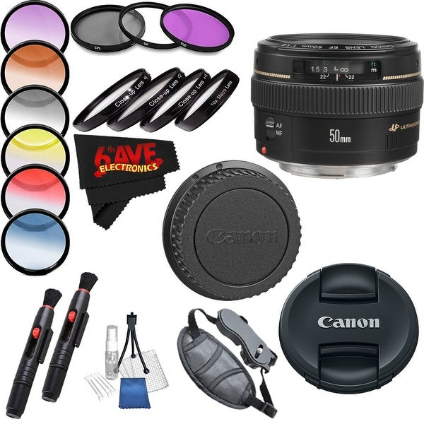 Canon EF 50mm f/1.4 USM Lens International Version (No Warranty) Professional Accessory Combo