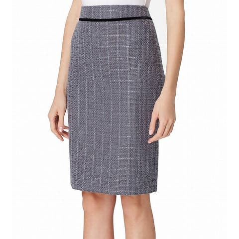 Tahari by ASL Women's Gray Size 14P Petite Tweed Straight Pencil Skirt