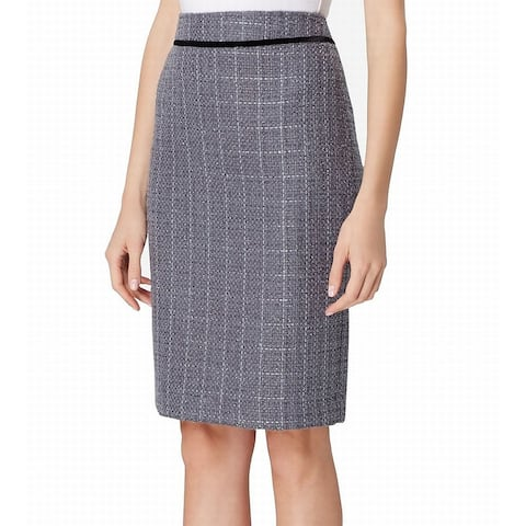 Tahari by ASL Womens Skirt Blue Size 8P Petite Metallic Tweed Straight