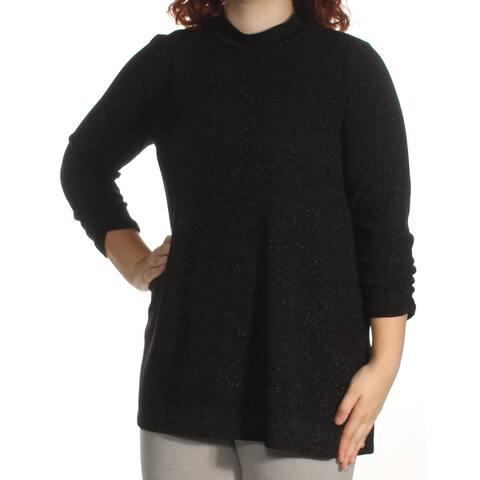 ALFANI Womens Black Metallic 3/4 Sleeve Turtle Neck Sweater Size XL