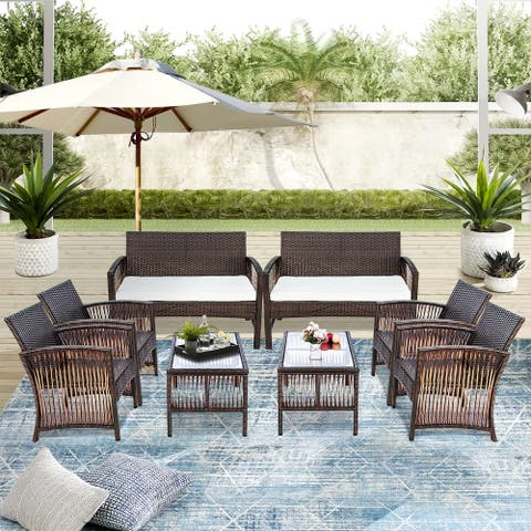 8 Pieces Outdoor Furniture Rattan Chair Set