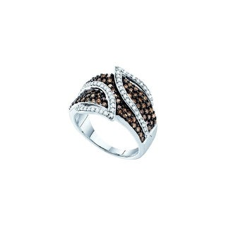 10k White Gold Cognac-brown Colored Round Diamond Womens Cocktail Band Ring 1.00 Cttw - Brown