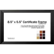 "8.5"" x 5.5"" Certificate Frame - Wood Frame - 8.5"" x 5.5"" inches (Black) - Black"
