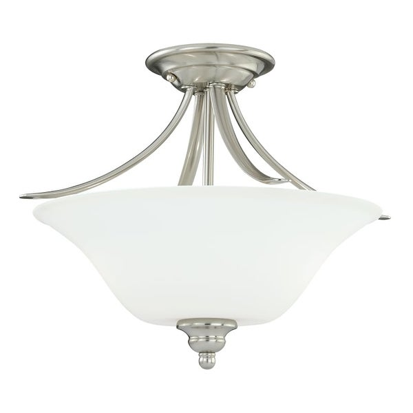 Vaxcel Lighting C0054 Darby 2 Light Semi-Flush Indoor Ceiling Fixture with Etched Glass Shade - 16 Inches Wide