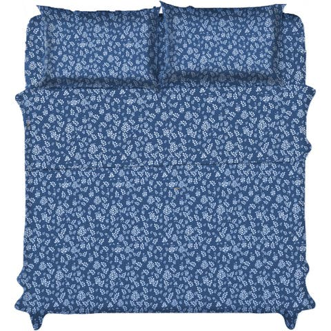 Extra Deep Pocket Sheet Set - 4 Piece Modern Designs Floral Bed Sheets Set of Microfiber Sheets